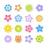 Reeks helder gekleurde bloemen op witte achtergrond stock illustratie