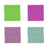 Reeks heldere golvende achtergronden Groene en violette vectorachtergronden met dunne lijnen Stock Foto