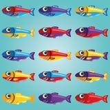 Reeks Heldere Vissen van de Beeldverhaalstijl Royalty-vrije Stock Afbeelding