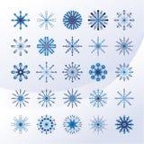 Reeks hemel blauwe sneeuwvlokken royalty-vrije illustratie