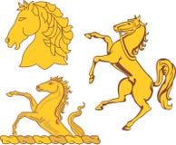 Reeks heraldische paarden Royalty-vrije Stock Afbeeldingen
