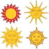 Reeks heraldische zonnen en zonnetekens Stock Afbeeldingen