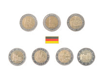 Reeks Herdenkings 2 euro muntstukken van Duitsland Royalty-vrije Stock Afbeelding