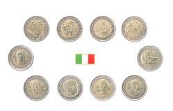 Reeks Herdenkings 2 euro muntstukken van Italië Royalty-vrije Stock Foto's
