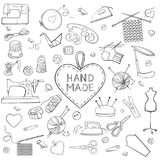 Reeks het breien, het naaien en handwerkpictogrammen stock illustratie