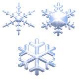 Reeks het effect van het chroommetaal sneeuwvlokken over wit Stock Afbeelding