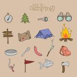 Reeks het kamperen materiaalsymbolen en pictogrammen Royalty-vrije Stock Afbeeldingen