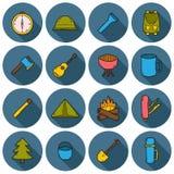 Reeks het kamperen pictogrammen Stock Foto's