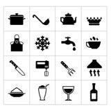 Reeks het koken en keukenpictogrammen Stock Foto