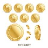 reeks het muntstukpictogrammen van munt gouden geïsoleerde financiën Stock Foto