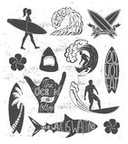 Reeks het surfen uitstekende ontwerpelementen De vectorillustratie van het brandingsembleem Surfplank logotypes retro Stock Foto's