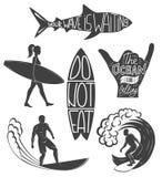 Reeks het surfen uitstekende ontwerpelementen De vectorillustratie van het brandingsembleem Surfplank logotypes retro Royalty-vrije Stock Afbeeldingen