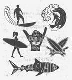 Reeks het surfen uitstekende ontwerpelementen De vectorillustratie van het brandingsembleem Surfplank logotypes Retro stijl Stock Fotografie