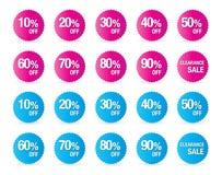 Reeks het tekenpictogrammen van de percentenkorting, verkoopsymbool, sterrenstickers Stock Foto's