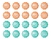 Reeks het tekenpictogrammen van de percentenkorting, verkoopsymbool, sterrenstickers Royalty-vrije Stock Afbeeldingen