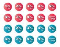 Reeks het tekenpictogrammen van de percentenkorting, verkoopsymbool, sterrenstickers Stock Afbeeldingen