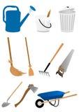 Reeks het tuinieren hulpmiddelen Stock Foto