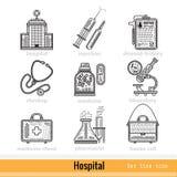 Reeks het Webpictogrammen van het het Ziekenhuisoverzicht Royalty-vrije Stock Afbeelding