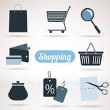 Reeks het winkelen pictogrammen Stock Fotografie