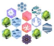 Reeks hexagonale flarden voor dekbedontwerp Stock Afbeelding