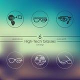 Reeks high-tech glazenpictogrammen Stock Foto