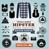 Reeks Hipster-de etiketten en pictogrammen van stijlelementen Royalty-vrije Stock Fotografie