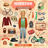 Reeks Hipster-stijlelementen, etiketten en pictogrammen Stock Fotografie