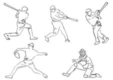 Reeks honkbalspelers: waterkruik, beslag, vanger stock illustratie