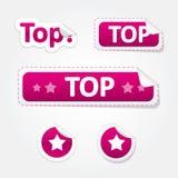 Reeks Hoogste Gebogen Stickers en Etiketten Stock Foto's