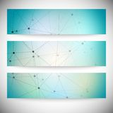 Reeks horizontale banners Abstract blauw Royalty-vrije Stock Afbeelding