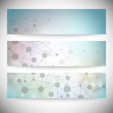 Reeks horizontale banners Abstract blauw Royalty-vrije Stock Foto