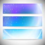 Reeks horizontale banners Abstract blauw Stock Afbeelding