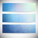 Reeks horizontale banners Abstract blauw Stock Foto