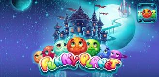 Reeks horizontale banners en pictogrammen aan de grappige planeet van het computerspel stock illustratie