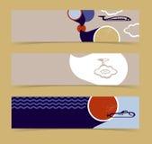 Reeks horizontale banners, kopballen. Editable desig Stock Foto's