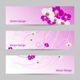 Reeks horizontale banners met bloemen royalty-vrije illustratie