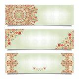Reeks horizontale banners met bloemen gevoelig ornament Stock Fotografie