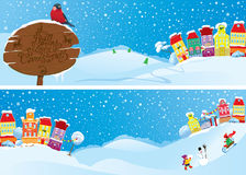 Reeks horizontale banners met kleine feestad  Stock Foto's