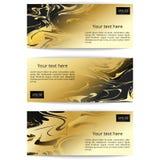 Reeks horizontale banners met marmeren waterverfachtergrond Stock Foto's