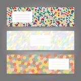 Reeks horizontale Kleurrijke Banners Abstract geometrisch ornament Royalty-vrije Stock Foto