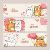 Reeks horizontale vectorbanners van de Valentijnskaartendag Royalty-vrije Illustratie