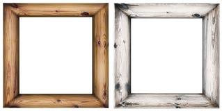 Reeks houten die kaders op wit worden geïsoleerd Stock Afbeelding