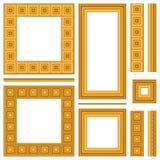 Reeks houten frames en naadloze grenzen Stock Afbeeldingen