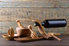 Reeks houten keukengerei Stock Fotografie