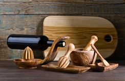 Reeks houten keukengerei Royalty-vrije Stock Afbeeldingen