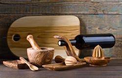 Reeks houten keukengerei Stock Foto's