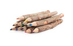 Reeks houten kleurenpotloden Stock Foto