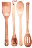 Reeks houten kokende werktuigen Stock Foto