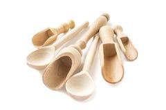 Reeks houten lepels en lepels Stock Fotografie