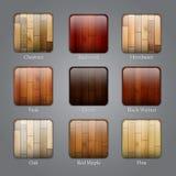 Reeks houten pictogrammen Stock Foto's